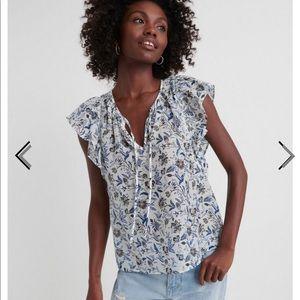 NWT Lucky Brand Flutter Sleeve Top